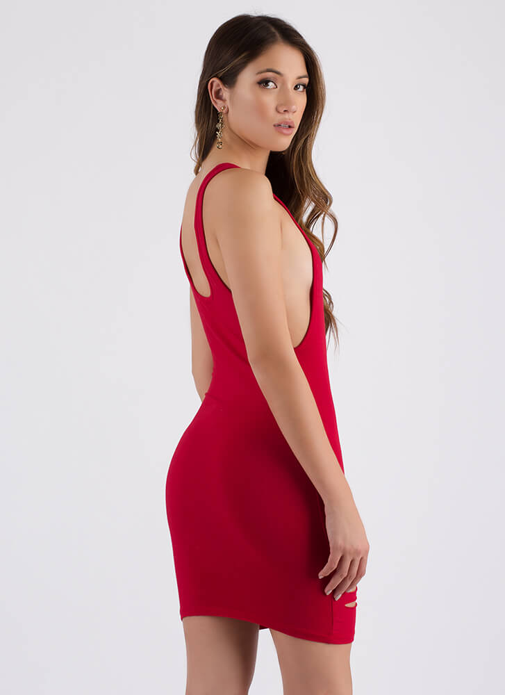 I Need To Vent Slit Muscle Tank Dress RED