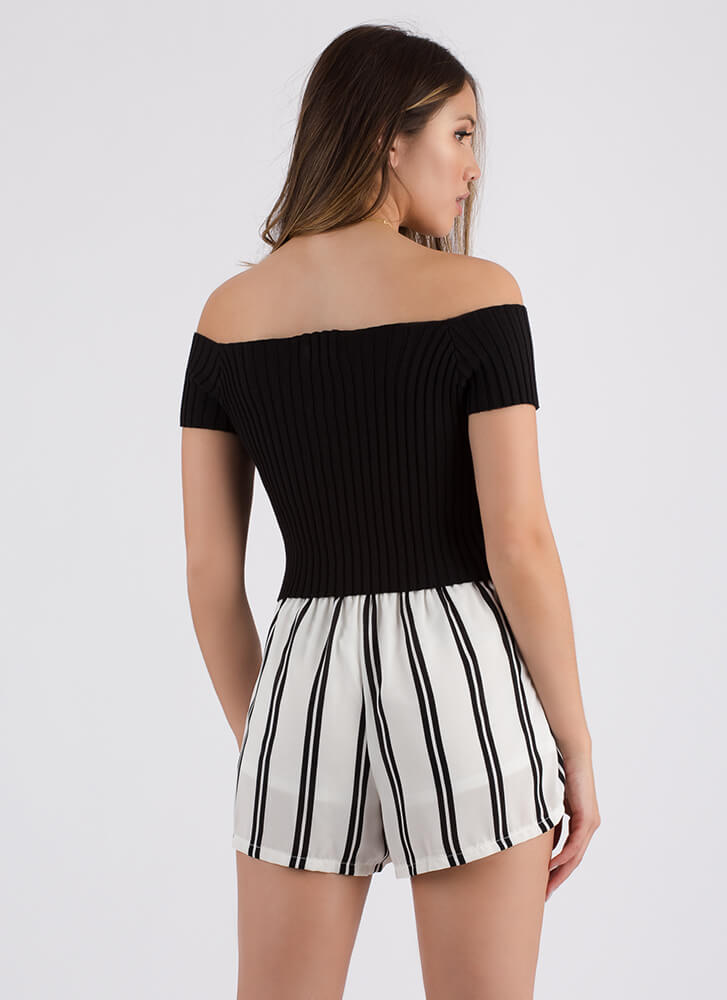 Watch Out Off-Shoulder Lace-Up Top BLACK