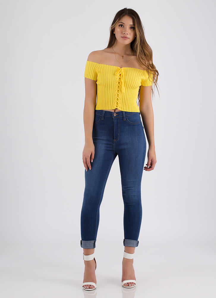 Watch Out Off-Shoulder Lace-Up Top YELLOW