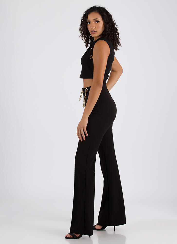 Two Chains Grommet Top And Pant Set BLACK