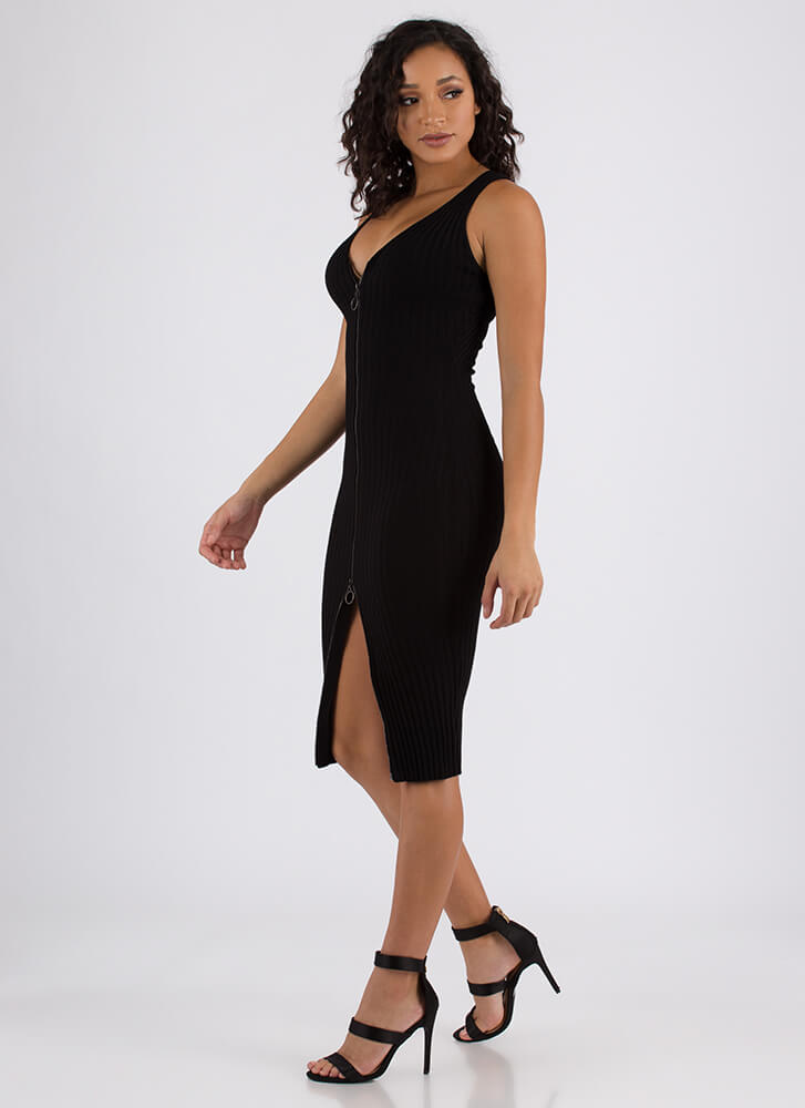 Have It Your Way Ribbed Zip-Front Dress BLACK