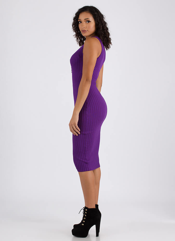 Have It Your Way Ribbed Zip-Front Dress PURPLE