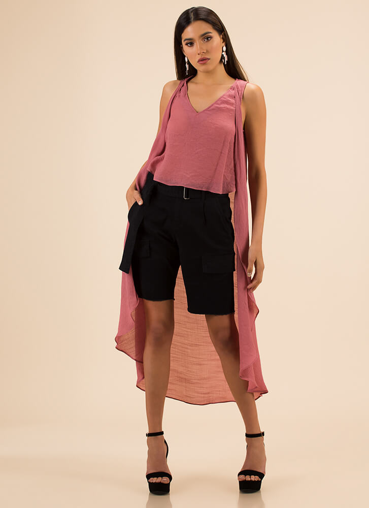 Go With The Flowy High-Low Top MAUVE