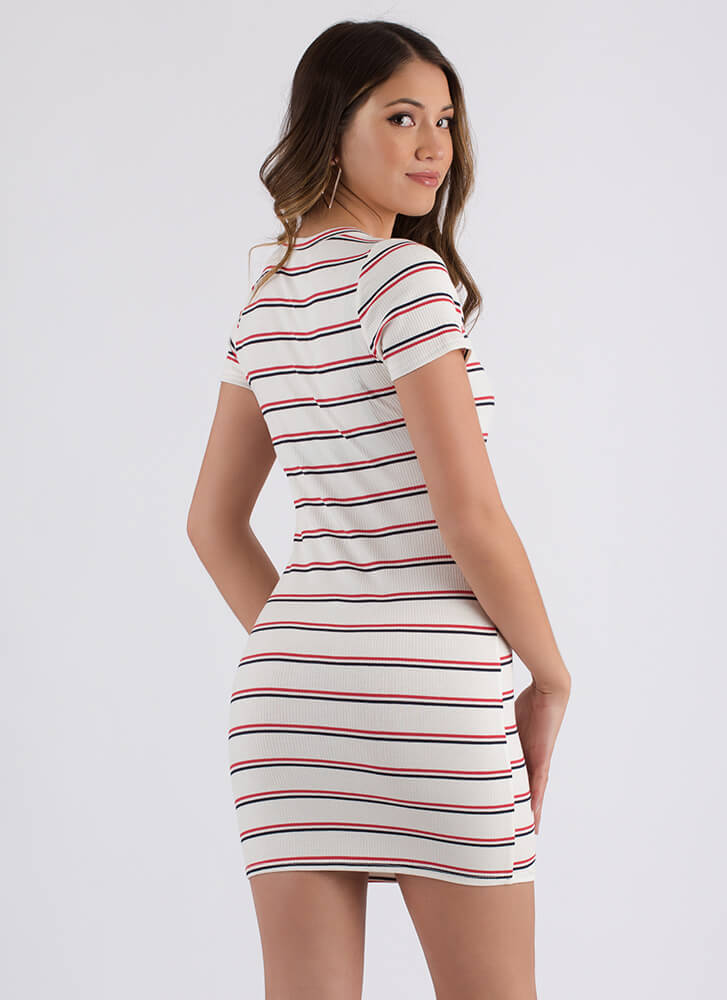 Cute And Casual Striped Minidress NAVYRED
