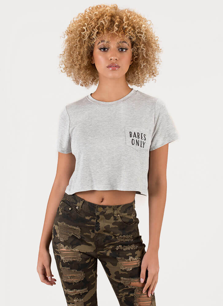 Babes Only Cropped Graphic Pocket Tee HGREY