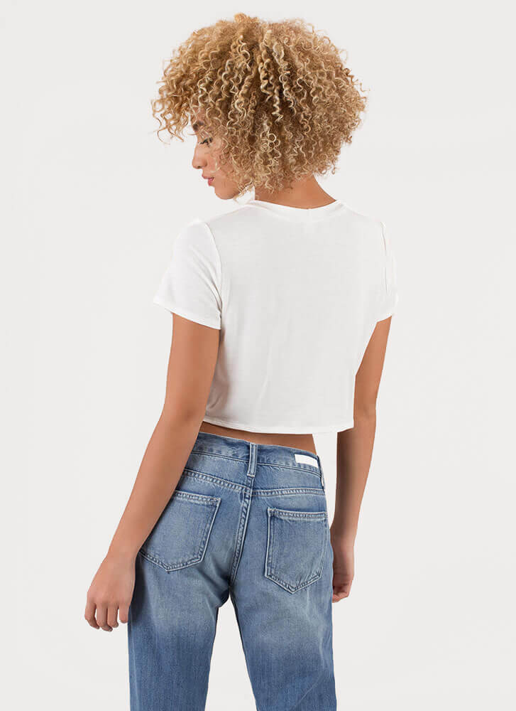 Babes Only Cropped Graphic Pocket Tee WHITE