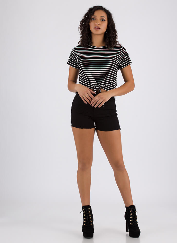 It's Knot Hard Tied Striped Crop Top BLACK (You Saved $8)