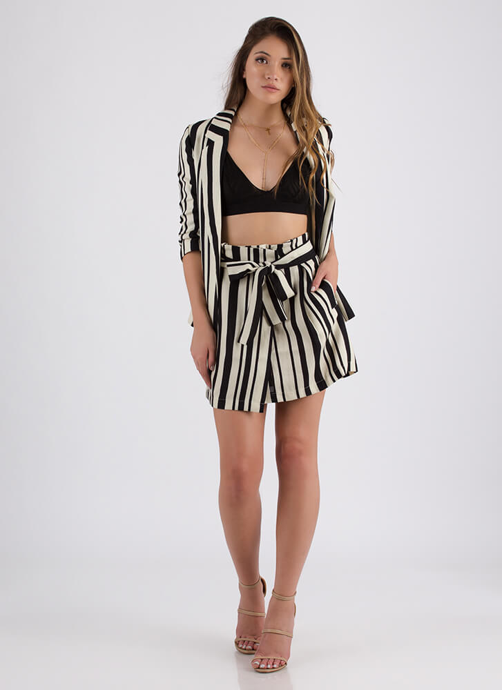 She's Boss Striped Blazer And Skirt Set NAVYWHITE