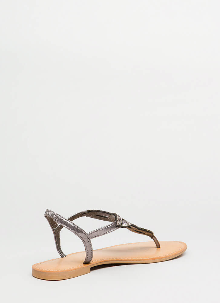 Shimmer Of Hope Jeweled Cut-Out Sandals PEWTER