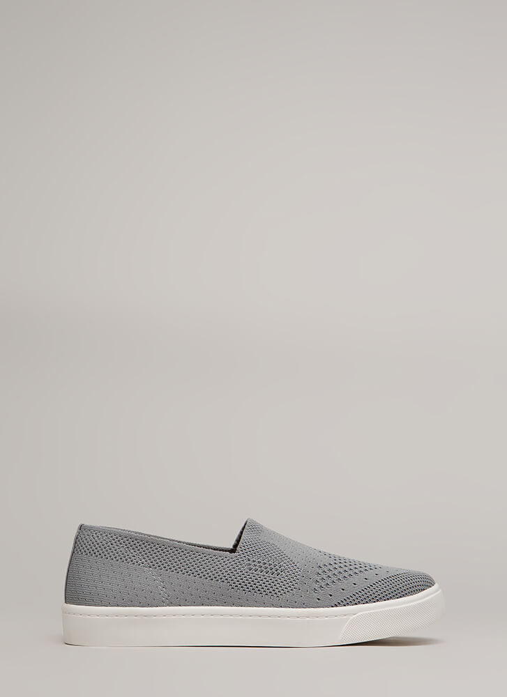 Knit's A Hit Slip-On Platform Sneakers GREY