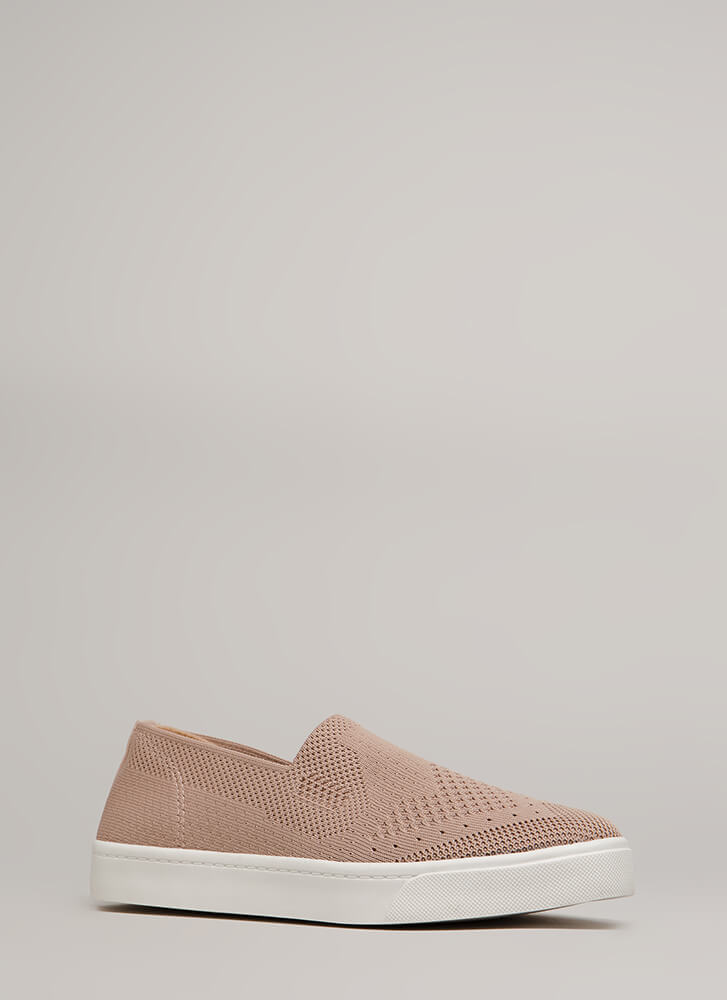 Knit's A Hit Slip-On Platform Sneakers MAUVE