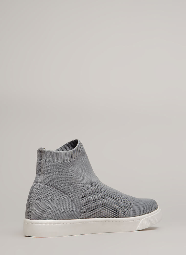 Knit's A Hit High-Top Platform Sneakers GREY