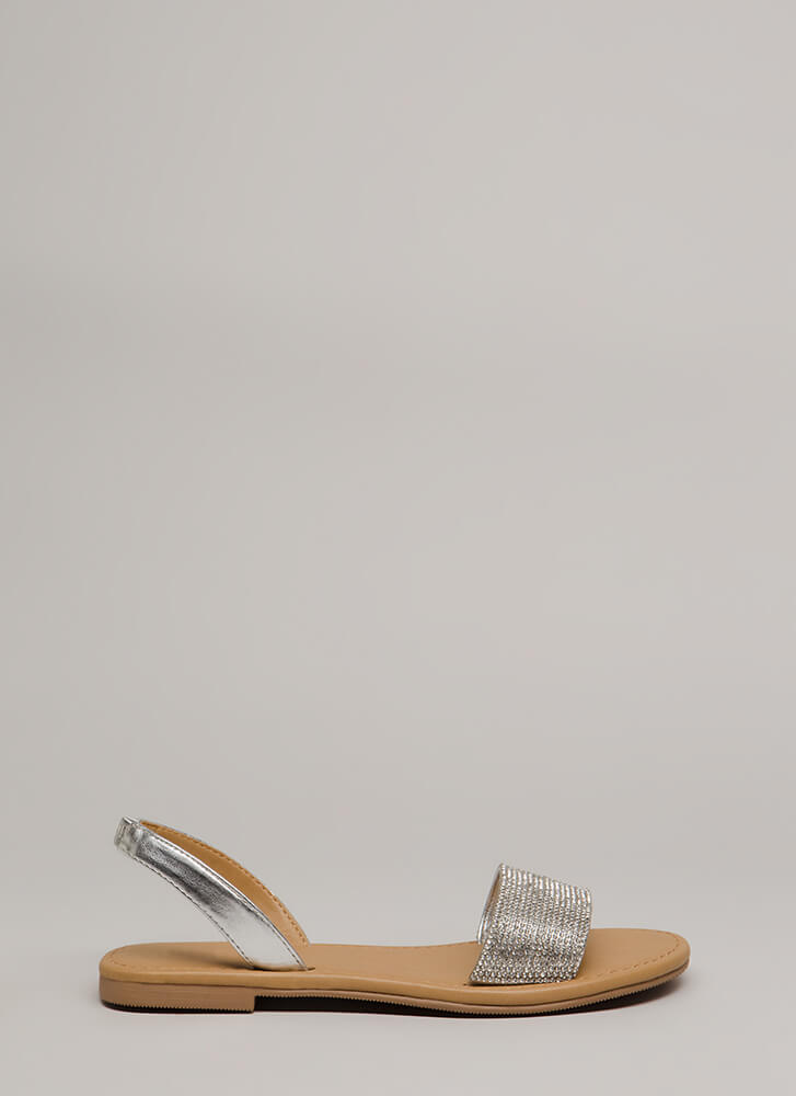 Going Glam Jeweled Slingback Sandals SILVER