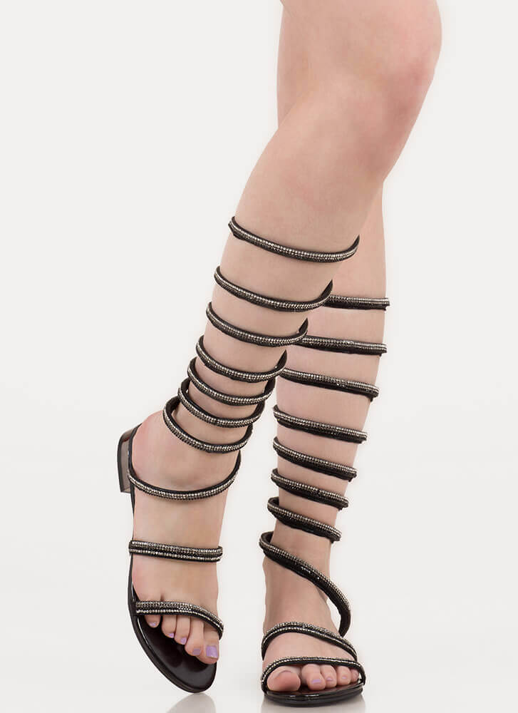 Cool Coiled Rhinestone Gladiator Sandals BLACK