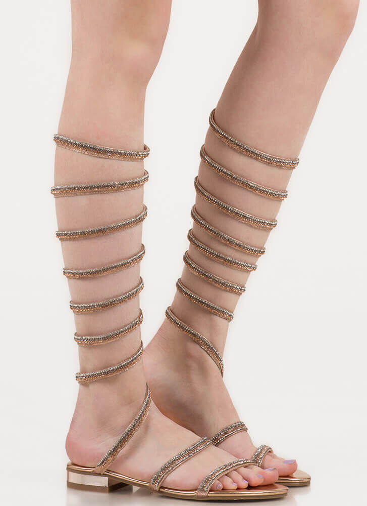 Cool Coiled Rhinestone Gladiator Sandals ROSEGOLD