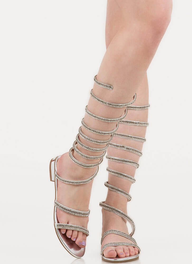 Cool Coiled Rhinestone Gladiator Sandals SILVER