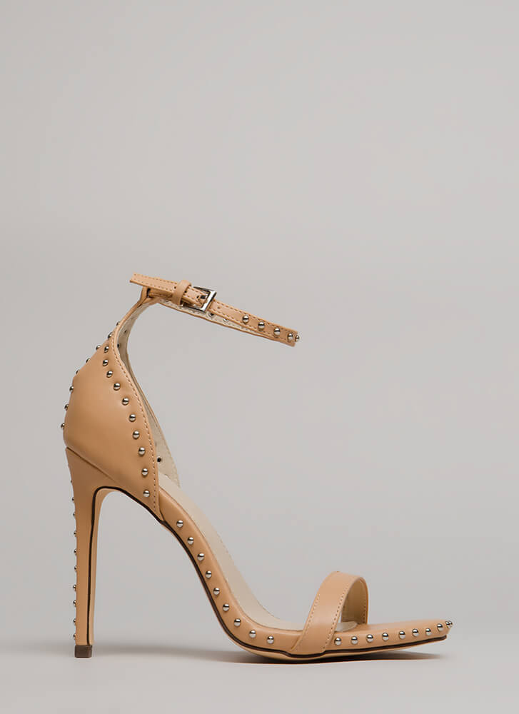 Stunning Studding Ankle Strap Heels NUDE