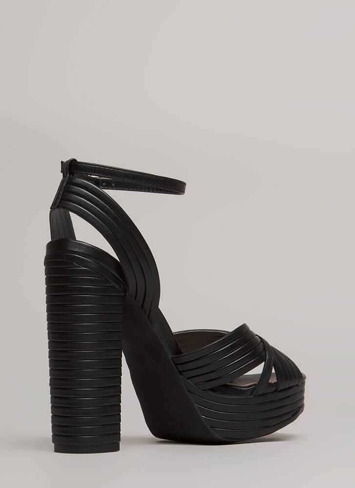 Stack The Deck Chunky Strappy Platforms BLACK