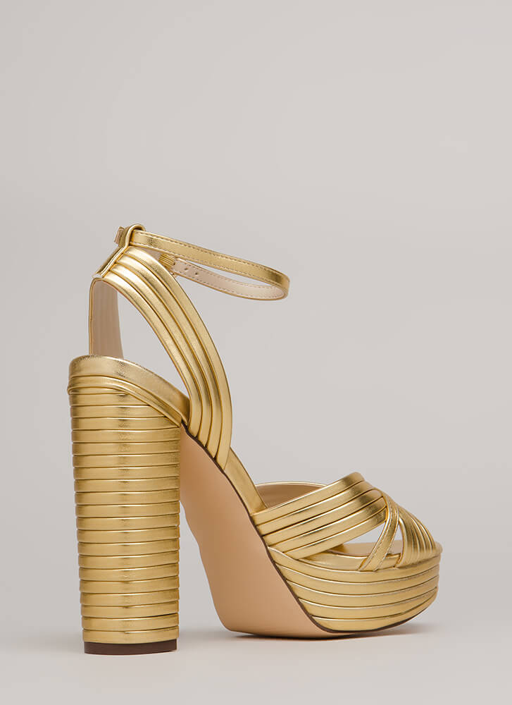 Stack The Deck Chunky Strappy Platforms GOLD