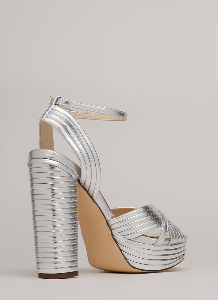 Stack The Deck Chunky Strappy Platforms SILVER