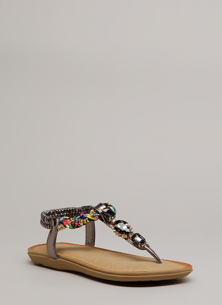 Braided Beauty Jeweled T-Strap Sandals BLACK