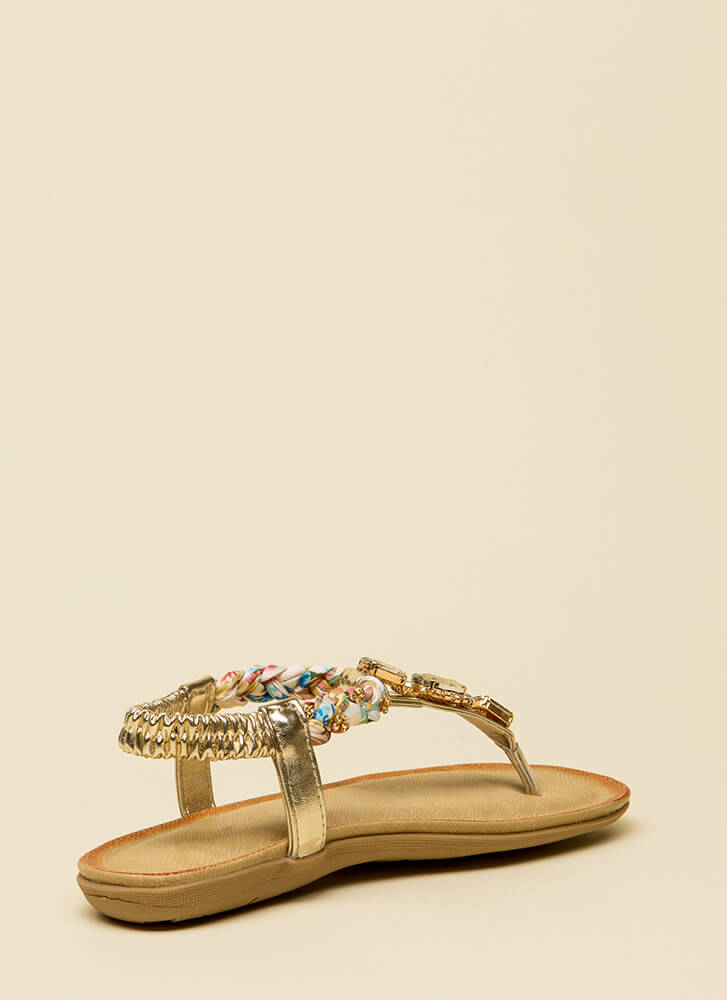 Braided Beauty Jeweled T-Strap Sandals GOLD