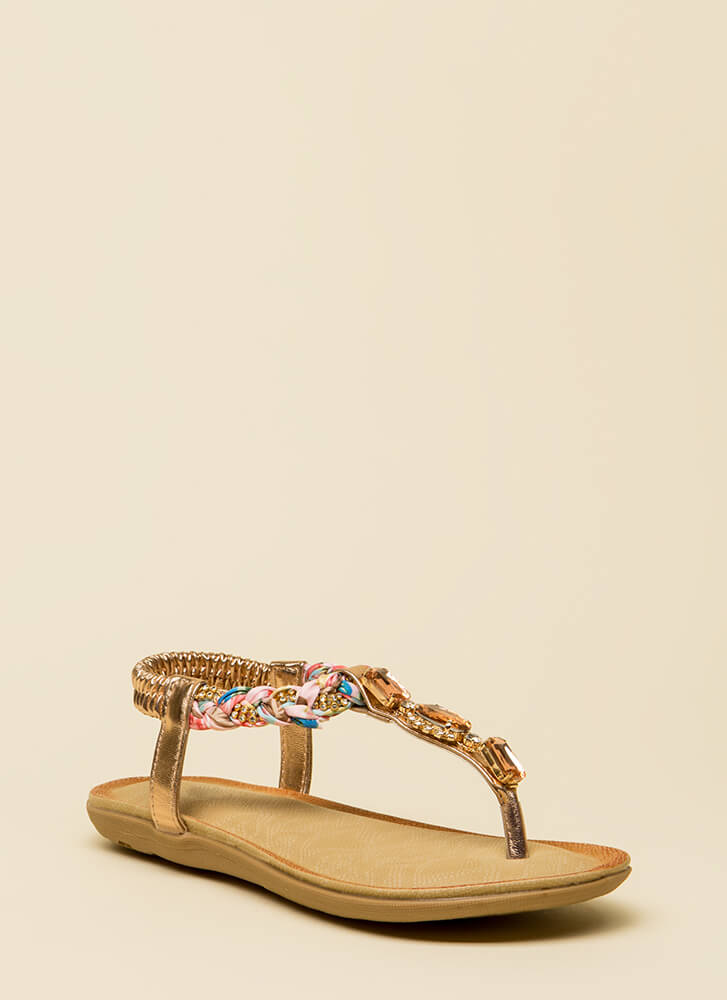 Braided Beauty Jeweled T-Strap Sandals ROSEGOLD
