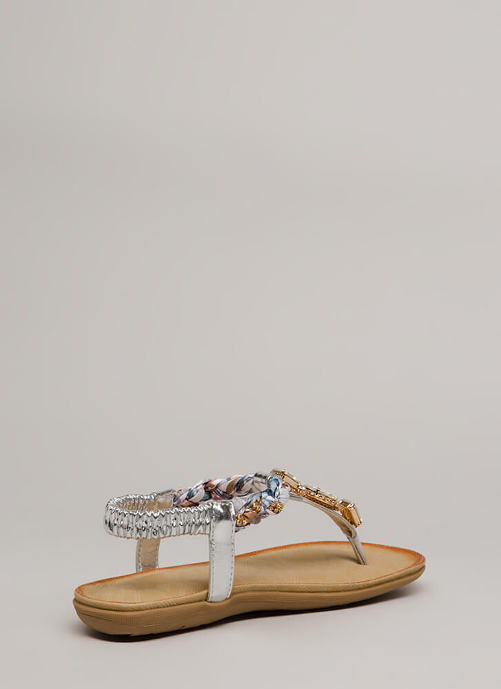 Braided Beauty Jeweled T-Strap Sandals SILVER