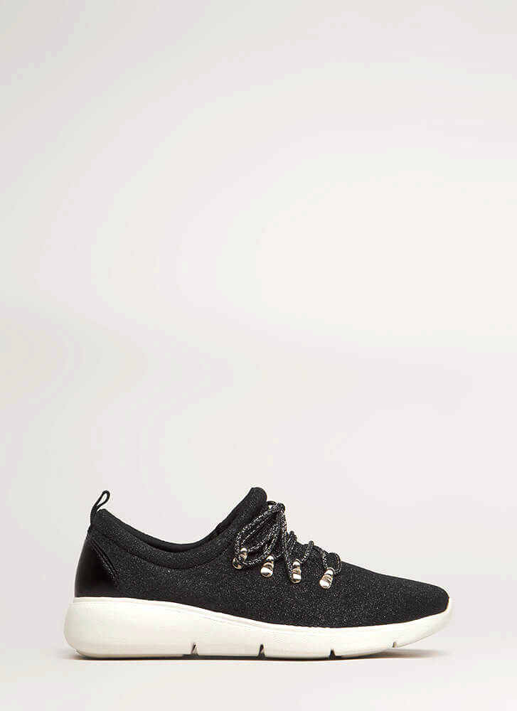 Starry Night Glittery Platform Sneakers BLACK (You Saved $18)