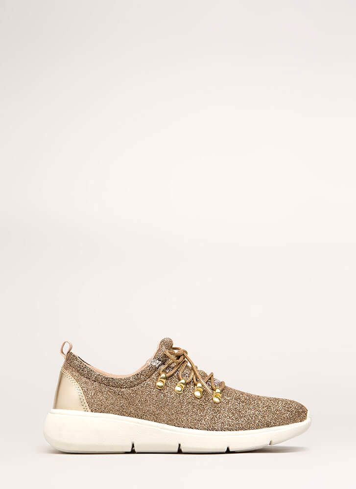 Starry Night Glittery Platform Sneakers GOLD (You Saved $18)