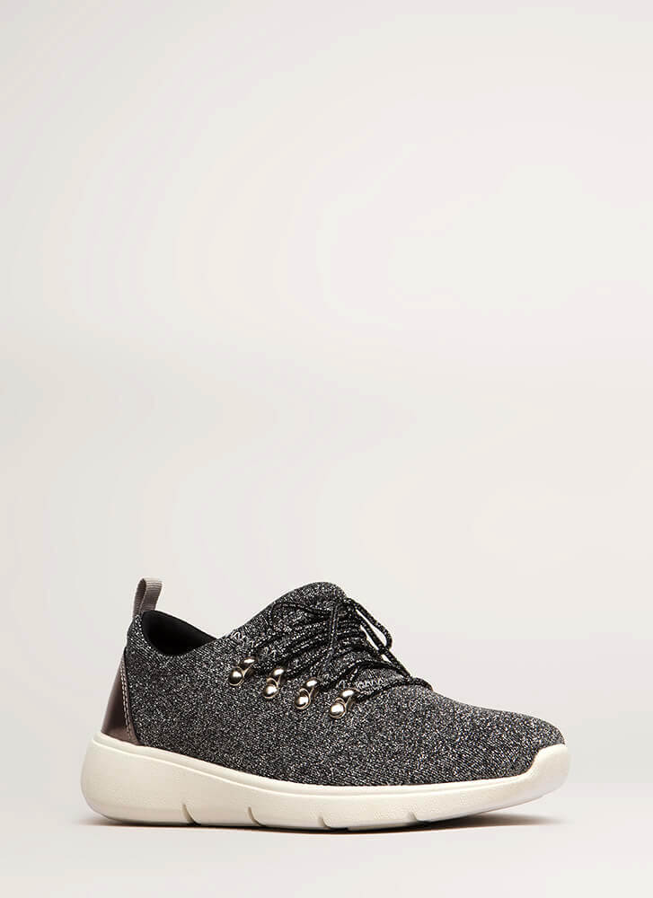 Starry Night Glittery Platform Sneakers PEWTER (You Saved $18)