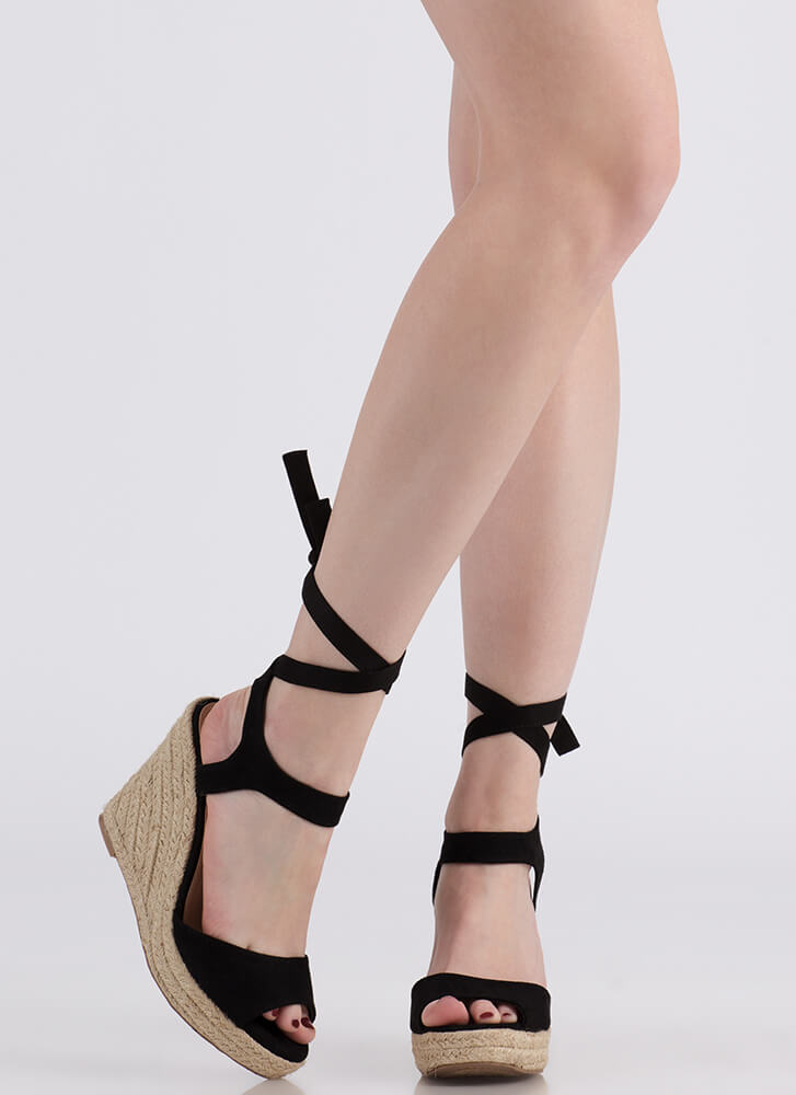 Villa Vacation Lace-Up Espadrille Wedges BLACK
