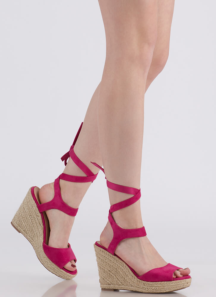 Villa Vacation Lace-Up Espadrille Wedges FUCHSIA