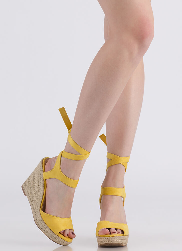 Villa Vacation Lace-Up Espadrille Wedges YELLOW