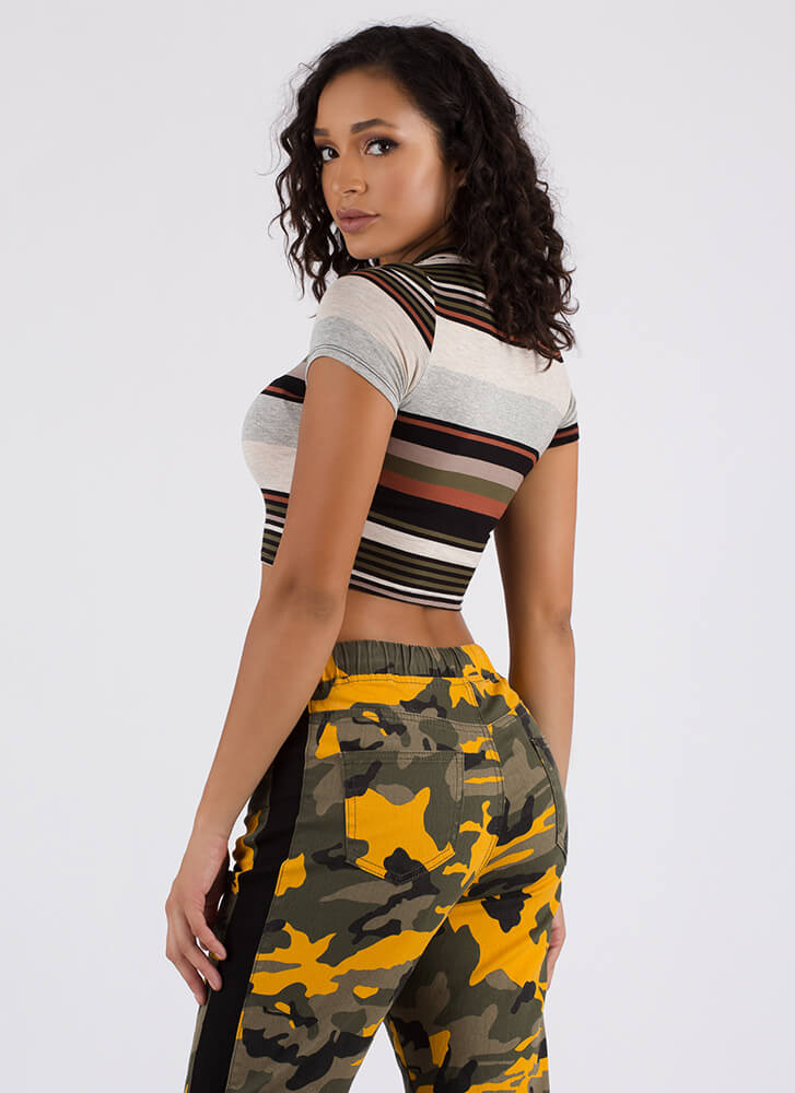 Weekend Lineup Striped Crop Top OLIVE