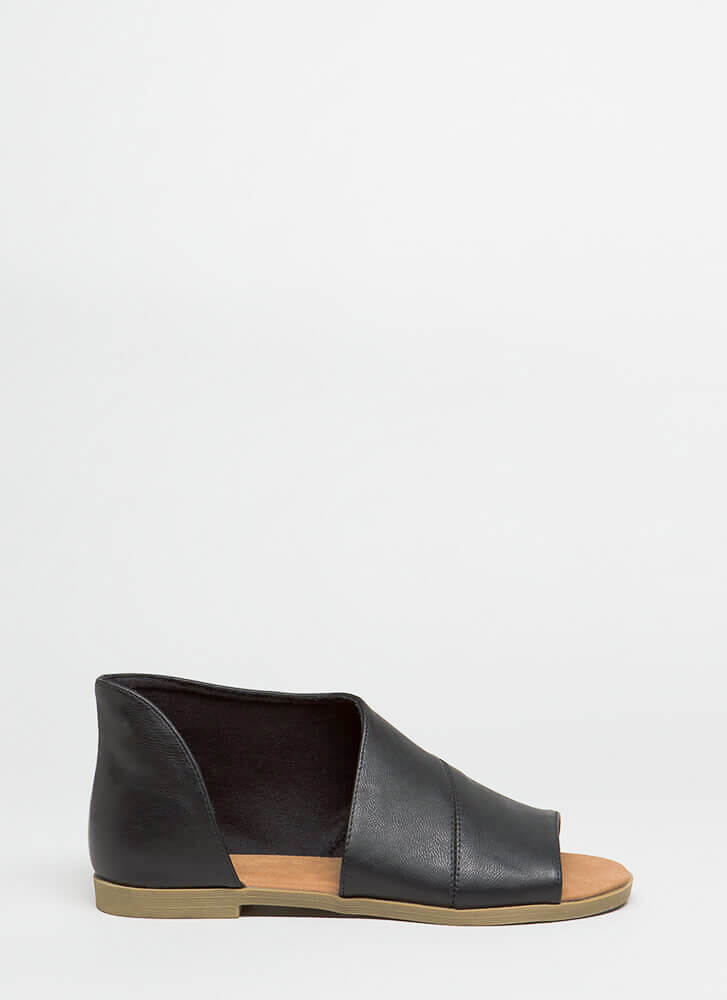 Asymmetry Cut-Out Faux Leather Sandals BLACK