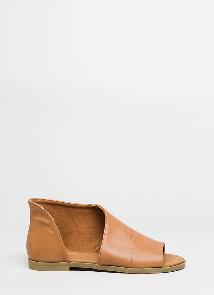 Asymmetry Cut-Out Faux Leather Sandals TAN