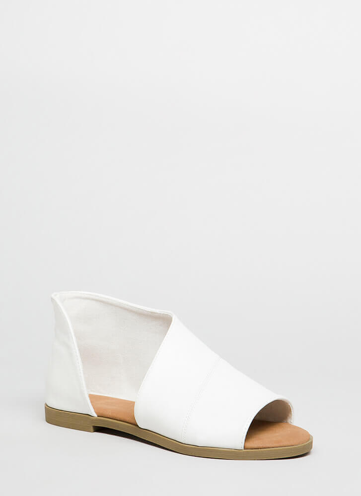 Asymmetry Cut-Out Faux Leather Sandals WHITE