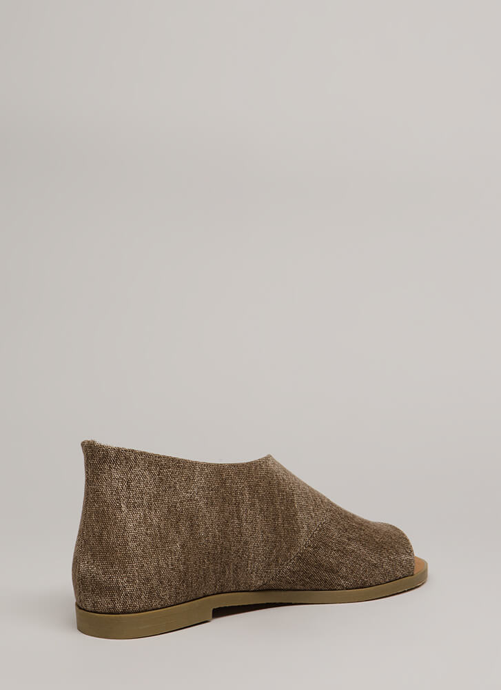 Asymmetry Cut-Out Canvas Sandals TAUPE