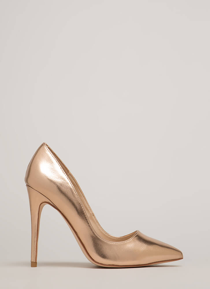 Point Blank Range Metallic Pumps ROSEGOLD