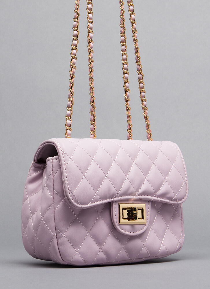 Brand Name Babe Quilted Purse LAVENDER