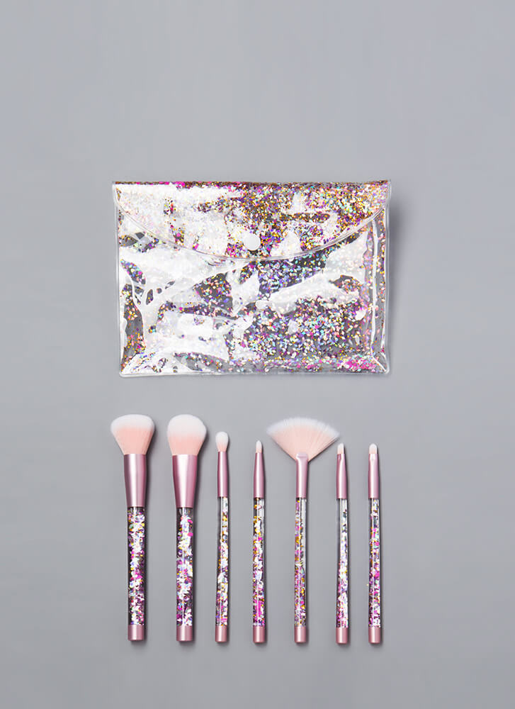 Sexy Sparkle Glittery Makeup Brush Kit PINK (Final Sale)