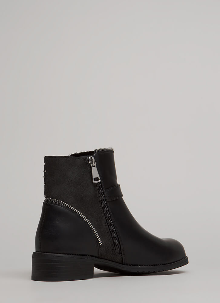 Maybe Moto Studded Zipper Booties BLACK