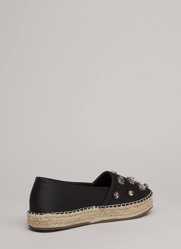 Jewel Quest Jute Trim Moccasin Flats BLACK