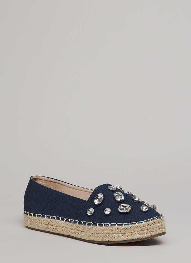 Jewel Quest Jute Trim Moccasin Flats DENIM