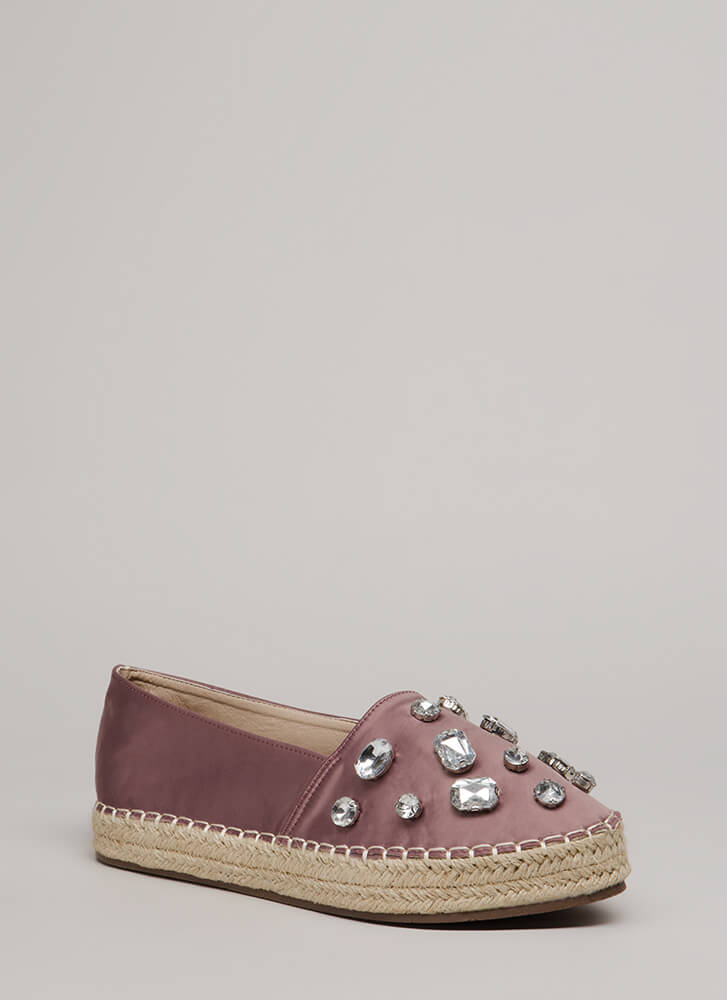 Jewel Quest Jute Trim Moccasin Flats MAUVE