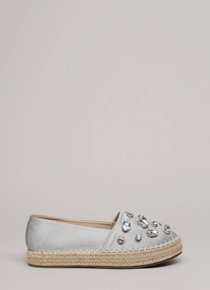 Jewel Quest Jute Trim Moccasin Flats SILVER