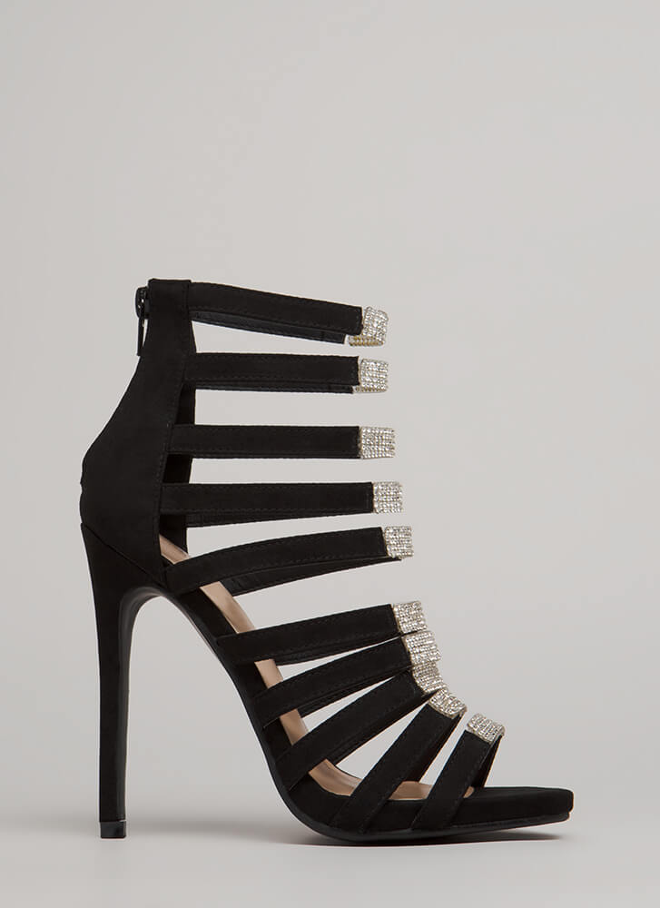 Ten To One Strappy Jeweled Heels BLACK