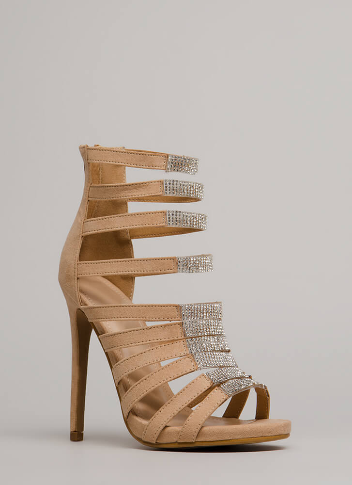 Ten To One Strappy Jeweled Heels NUDE