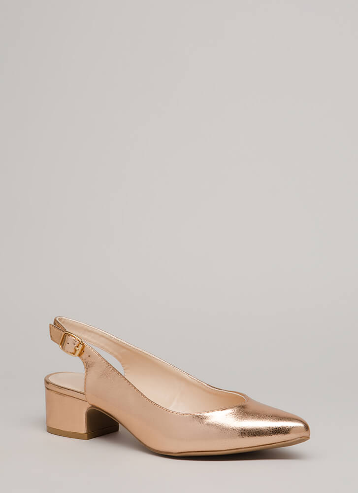 Keep It Short Slingback Block Heels ROSEGOLD